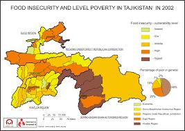 Tajikistan Map Food Insecurity And Level Poverty In Tajikistan In 2002