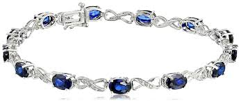sapphire bracelet images Sterling silver created blue sapphire and diamond jpg