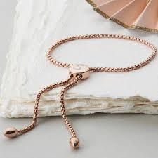 personalised rose gold slider friendship bracelet by hurleyburley