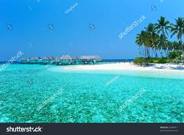 maldives water villa bungalows white beach stock photo 76399417
