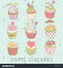 sweet cupcakes colorful tasty vector set stock vector 131723750