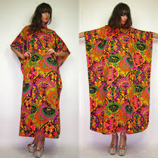 1960 70 s psychedelic floral demask moo moo chic hippie caftan dress