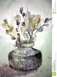 flower in vase drawing drawing willow flowers in a vase royalty free stock photo image