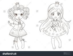 coloring book page princesses 2 fairy stock vector 85237147