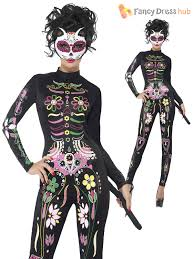 Halloween Skeleton Bodysuit Smiffys 1919166 Day Of The Dead Sugar Skull Cat Costume