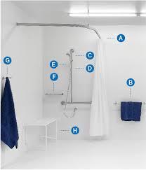 Anti Ligature Shower Curtain Disabled Shower Set 5 Surecare