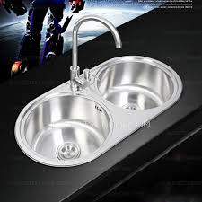 Nickel Brushed Stainless Steel Double Round Bowls Kitchen Sinks - Brushed stainless steel kitchen sinks