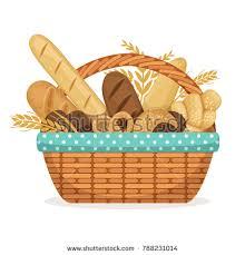 bakery basket illustration bakery shop basket wheat fresh stock illustration
