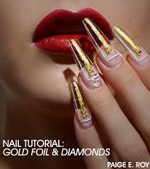 tutorial nail art foil nail tutorial gold foil diamonds paige e roy nailstyle
