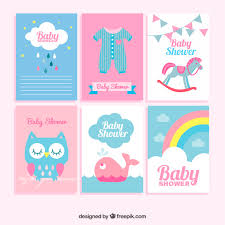 Baby Shower Pastel - flat collection of great baby shower cards in pastel colors vector