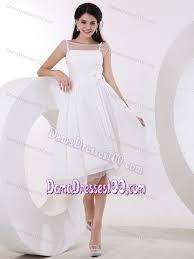 line white hand made flowers knee length dress for damas