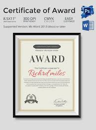 cool certificate of award template example with red color in name
