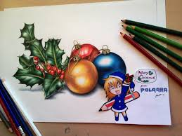 happy christmas drawing holly and baubles by polaara on deviantart