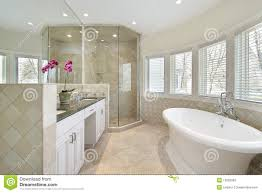 luxury master bath glass shower stock photography artistic master