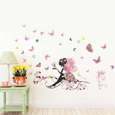 new butterfly flower girl wall stickers pvc removable colorful art new butterfly flower girl wall stickers pvc removable colorful art mural bedroom sitting room wall decal decoration tree wall decals tree wall decals for