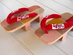 Vintage Antique Home Decor Vintage Gita Wooden Platform Shoes Womens 1940s Small Geisha