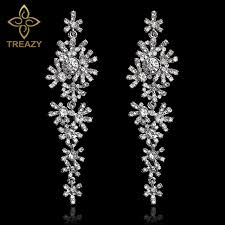 bridal chandelier earrings treazy beautiful snowflake bridal drop earrings