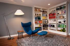 Billy Corner Bookcase Looking Grey Shag Rug In Family Room Contemporary With Painted