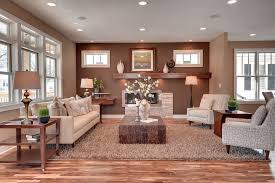 Living Room Upholstered Chairs Earth Tone Accent Walls Living Room Transitional With Windows