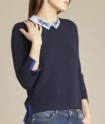navy blue blouse noémie navy blue sweater with shirt collar 123