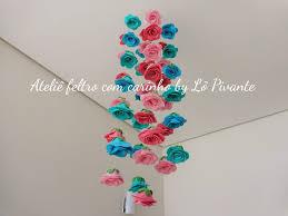 Conhecido Mobile para teto rosas em feltro no Elo7   Ateliê Feltro com  @VH55