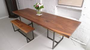 Natural Wood Dining Room Tables Long Brown Wooden Table With Black Steel Legs Plus Brown Bench