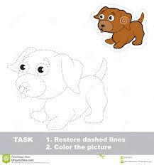 vector trace game little dog to be traced stock vector image