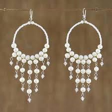 pearl chandelier handmade pearl chandelier earrings harmony of white novica