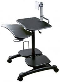 Mobile Computer Desk Aidata Ldc003p Monitor Arm Cart Ii Sit Stand Mobile Computer Desk