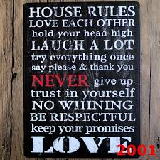 home decor rules 30x40cm retro metal tin signs house rules metal poster home