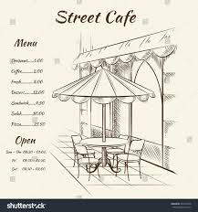 hand drawn street cafe background menu stock vector 291542438