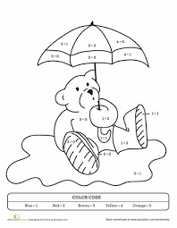 color sum rainy teddy bear worksheets number worksheets