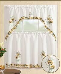 Sunflower Kitchen Curtains 3pc Fall Holiday Season Design Embroidered Kitchen Curtain Set