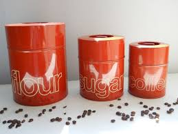 funky kitchen canisters burnt orange kitchen burnt orange kitchen canisters set of three