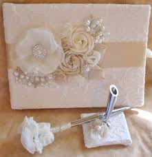 ivory wedding guest book chagne and ivory wedding guest book and pen set with flowers