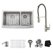 Kraus Kitchen Combos  X  Double Basin FarmhouseApron - Kitchen sink 21