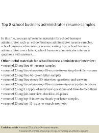 team leader resume objective top8schoolbusinessadministratorresumesamples 150529092215 lva1 app6891 thumbnail 4 jpg cb 1432891840
