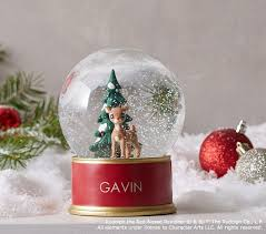 rudolph the nosed reindeer snow globe pottery barn