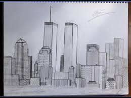 drawing of new york city skyline nyc with trade centers time