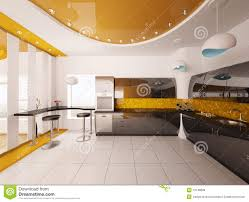 modern interior design kitchen interior design of modern kitchen 3d render royalty free stock