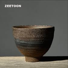 Handmade Tea Cups - zen japanese style vintage coarse pottery teacup handmade tea cup
