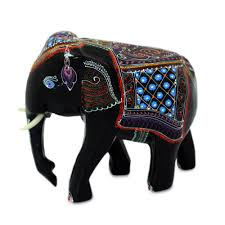 lacquered wood figurine young thai elephant novica