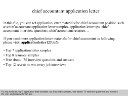 chief accountant chief accountant application letter