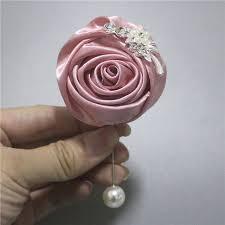 satin roses bridal wedding corsage groom nake pink satin roses artificial