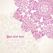 graphic pink floral ornament with place for text vector clipart
