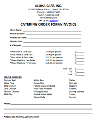 dinner order form template catering invoice template 7 catering invoice templates