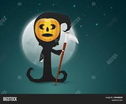 halloween party background scary ghost with pumpkin face holding a dangerous axe on full