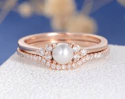 pearl engagement ring etsy