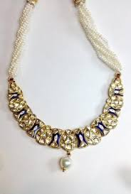necklace with price images Price point blue enamel necklace set with uncut diamond polki by jpeg