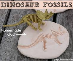 dinosaur fossils using homemade clay